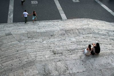 People sitting on steps
