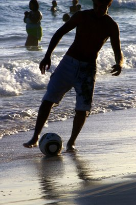 Beach Shadows - boys and footballs