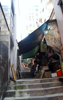 The steep market streets in Hong Kong