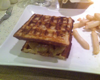 Cheeseburger between waffles