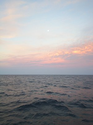 Moon setting over the Gulf