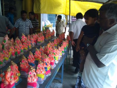 Shopping for Ganesha's on the festival day