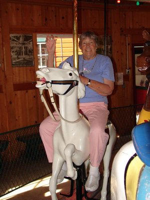 Day 29 - Carrousel Museum, Mom Riding the Lead Horse