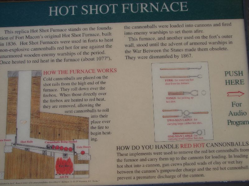 Day_101_-_Fort Macon, Hot Shot Furnace Signage