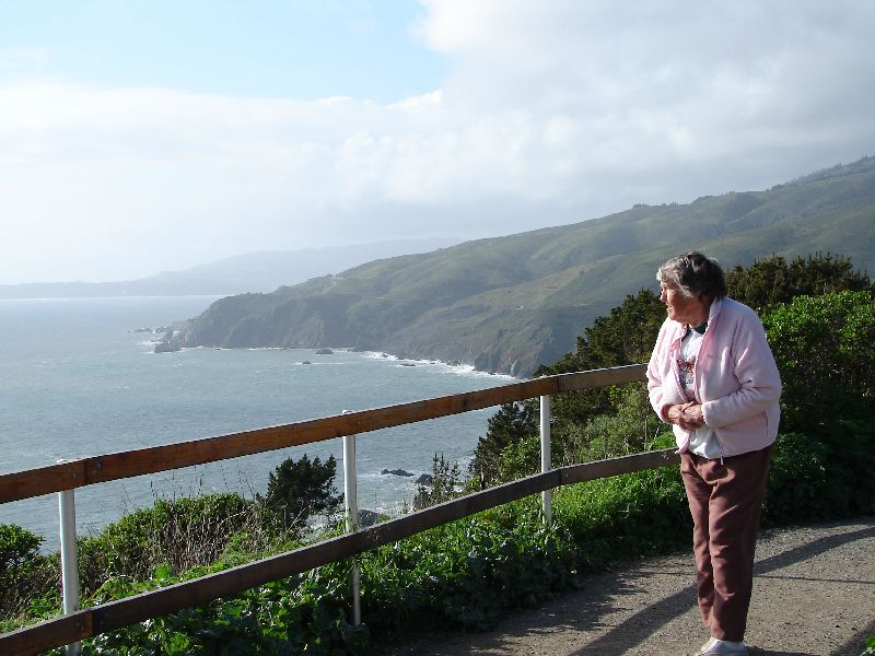 Day 195 - Northern CA Coast, Mom At Overlook