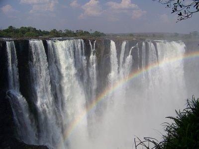 Rainbow across Victoria Falls
