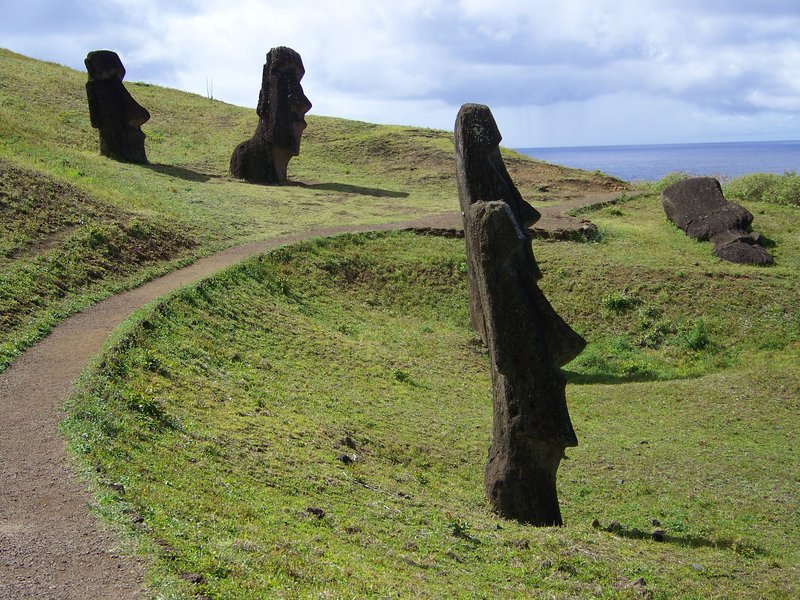 Unfinished moai statues at the quarry