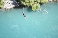 Carol dangles from the Kawarau Bridge in QUeenstown