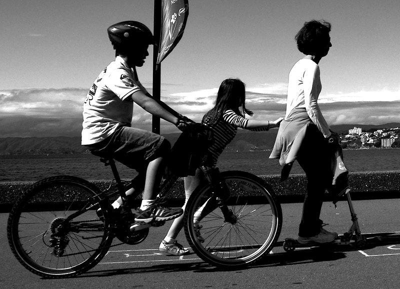 mum son daughter on bike