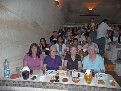 Enjoying our appetizers in the underground cave