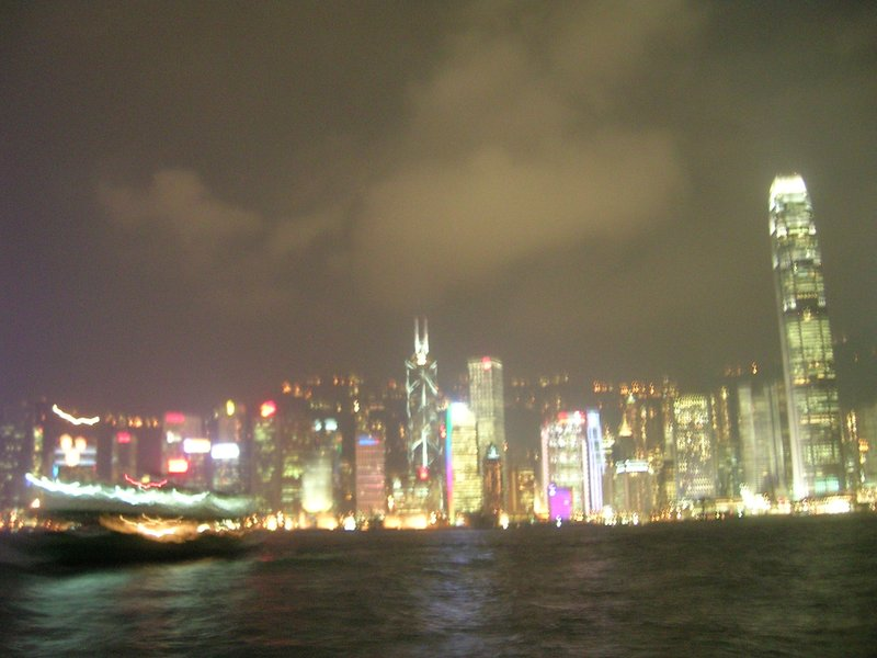 hong kong skyline night from star ferry