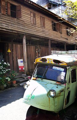 trang city wood house old tuk-tuk