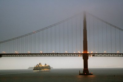 Sailing into San Francisco under Golden Gate Bridge