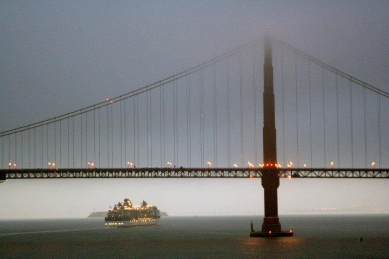 Sailing into San Francisco under Golden Gate Bridge