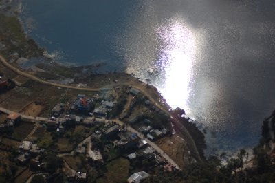 Reflection of the Sun in the Lake in Pokhara
