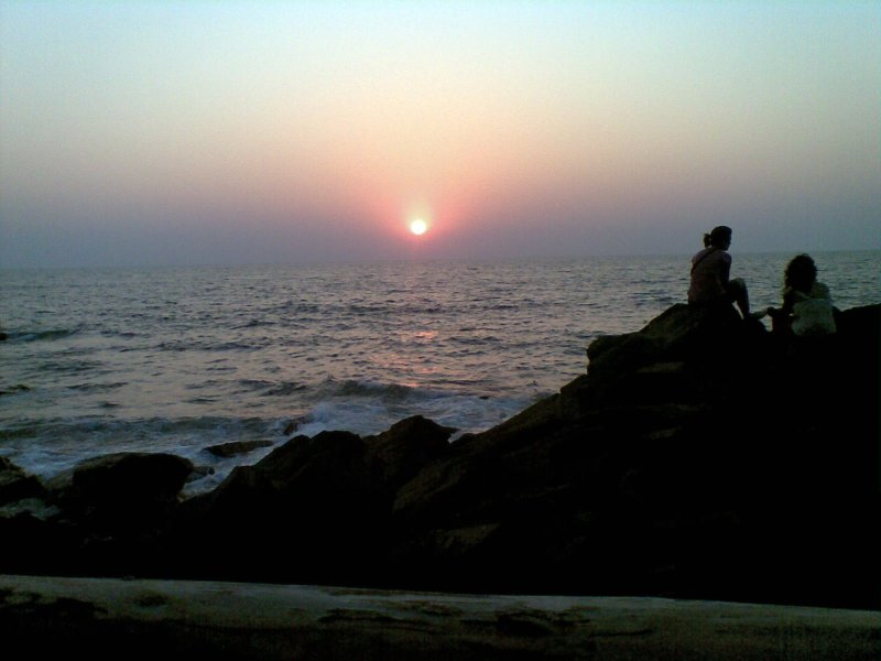 Sunset over Arabian sea in Goa