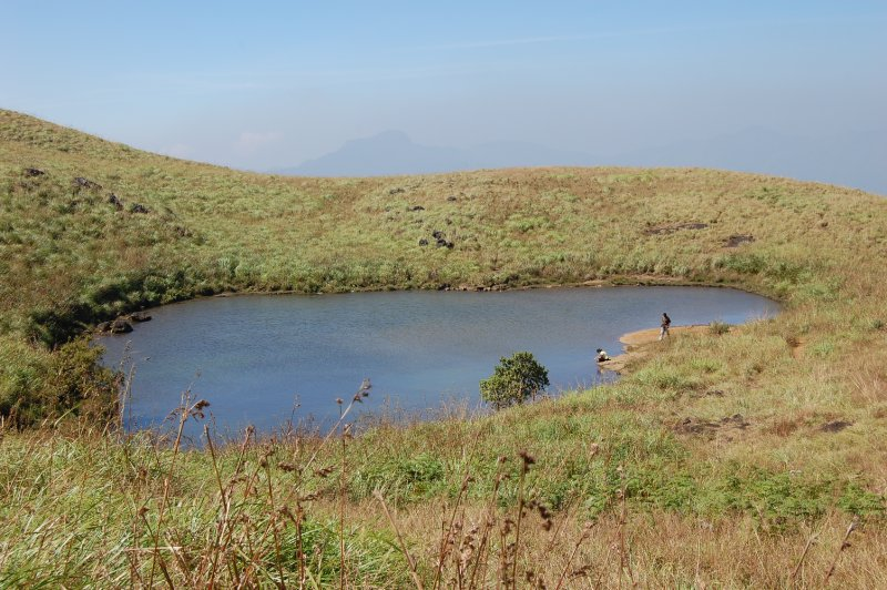 Heart-shaped lake on Chembra peak, Wayanad