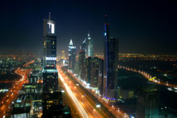 Dubai nightime skyline