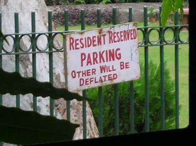 parking sign outside our gues house in delhi