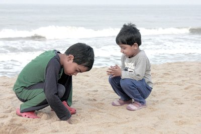 Kids playing in Nileshwar beach