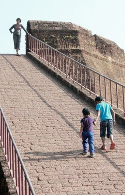 Walking up the watch tower - Bekal fort