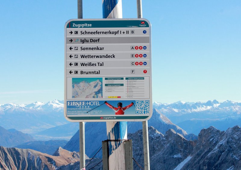 Sign board on Zugspitze