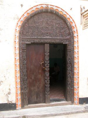 Door to the entrance of an advocate in Lamu