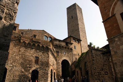The aged brickwork of San Gimignano