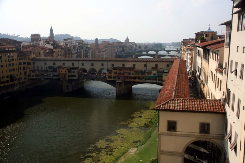 The bridges of the Arno from the Uffizi, Florence.