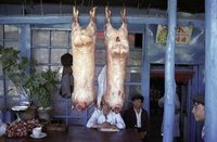 Mutton on sale in Kashgar, China