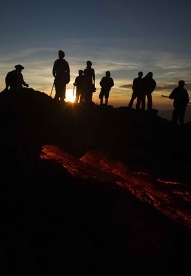 Pacaya volcano Lava at sunset