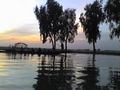Sunset on the Niger river