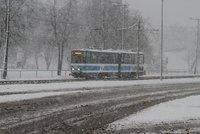 Tram in snow