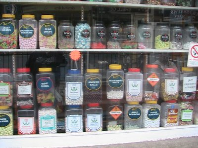 A candy store window in Scotland