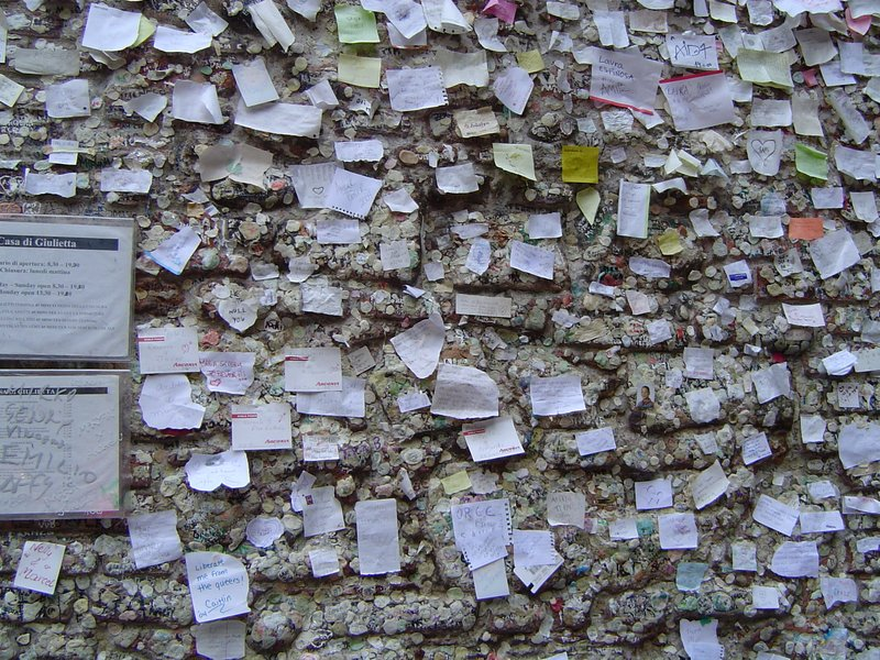 Love Note Requests on Juliet's wall Verona Italy