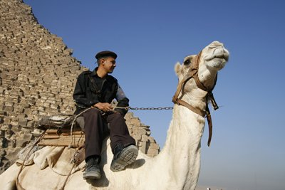 Tourist policeman on camel