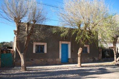 House with blue door