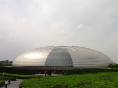 Outside the Beijing Centre for Performing Arts