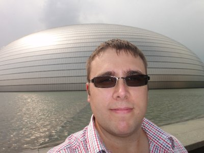 Ben and outside the Beijing Centre for Performing Arts