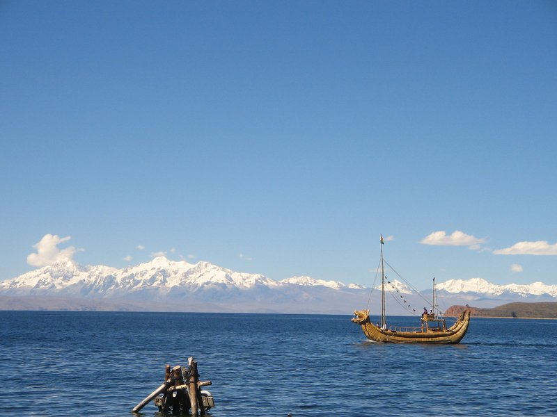 Native boat on Lake Titicaca