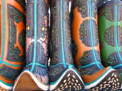Mongolische Stiefel auf dem Black Market in Ulaan Baatar
