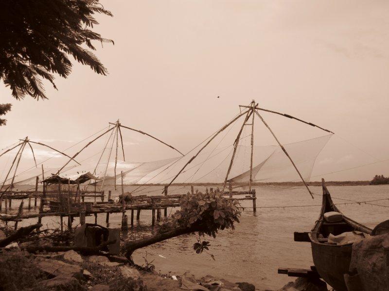 Chinesischer Fischernetze am Fort Cochin