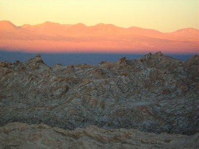 Zonsondergang in de Valle de la Luna