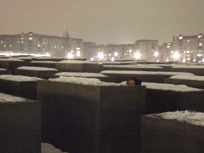 Snow capped holocost memorial in Berlin.