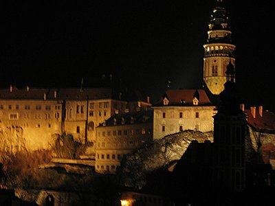 Cesky Krumlov church at night