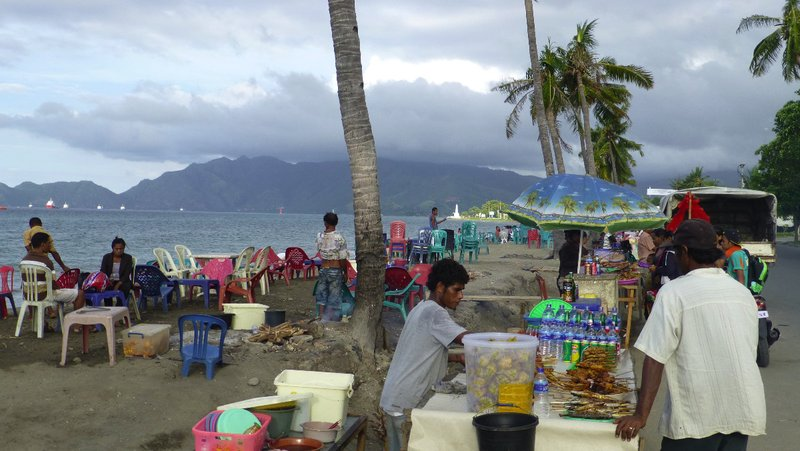 Dili beach food stalls