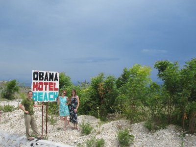 Us in Front of the Obama Hotel Beach
