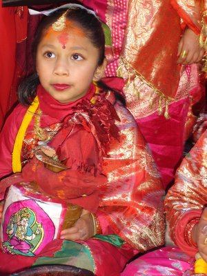A girl in Newari ritual ceremony