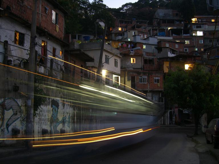 A bus thunders through Favela Rocinha