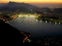 Lights of Flamengo in foreground, Corcovado behind